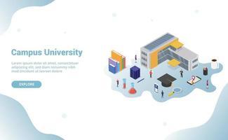 university campus life concept with big building vector