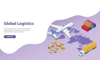 global logistics network with world map and transportation vector