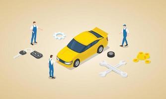 car service concept with team engineer technician mechanic vector