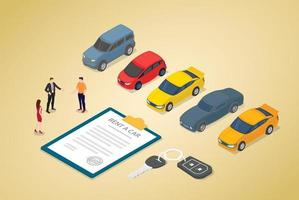 car rental business concept with various cars model vector