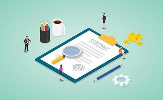 business contract agreement concept with team people vector