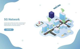 5g network on smart city building technology vector