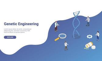 dna genetic engineering with team doctor people vector