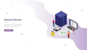 secure server campaign for web website template page vector