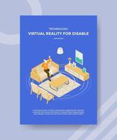 tecnología de realidad virtual para hombres discapacitados uso de prótesis de pierna vidrio vr vector