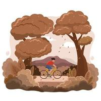 Bicycling Activity in Autumn with Nature Scenery vector