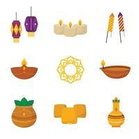 Happy Diwali Icon Collection vector