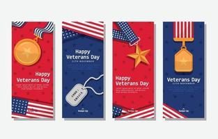 Usa Veterans Day Celebration Social Media Card vector