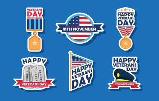 America Veterans Day Sticker Pack vector