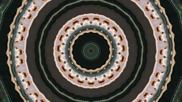anneaux verts avec élément kaléidoscopique de détail pétale rosâtre video