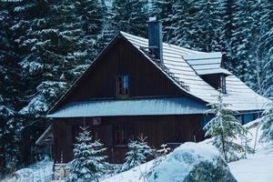Casa de madera en la montaña cubierta de nieve fresca en las montañas de invierno foto