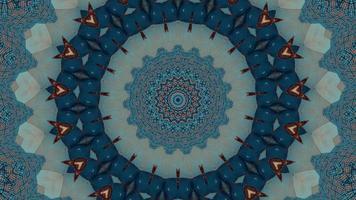 Élément kaléidoscopique en anneau fractal bleu froid video