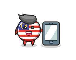 dibujos animados de ilustración de insignia de bandera de malasia sosteniendo un smartphone vector