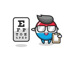Illustration of luxembourg flag badge mascot as an ophthalmology vector