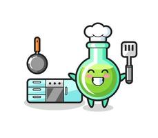 lab beakers character illustration as a chef is cooking vector