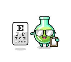 Illustration of lab beakers mascot as an ophthalmology vector