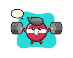 Letonia bandera insignia mascota de dibujos animados con una barra vector