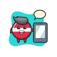 dibujos animados de ilustración de insignia de bandera de letonia sosteniendo un smartphone vector