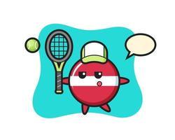 personaje de dibujos animados de la insignia de la bandera de letonia como tenista vector