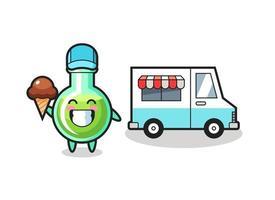 Mascot cartoon of lab beakers with ice cream truck vector
