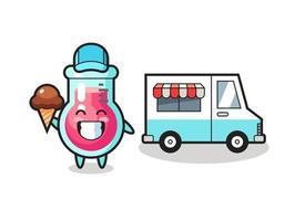 Mascot cartoon of laboratory beaker with ice cream truck vector