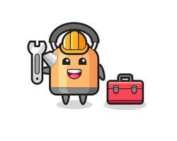 Mascot cartoon of kettle as a mechanic vector