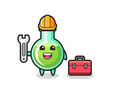 Mascot cartoon of lab beakers as a mechanic vector