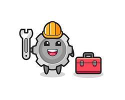 Mascot cartoon of gear as a mechanic vector