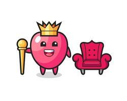 Mascot cartoon of heart symbol as a king vector