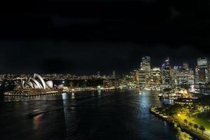 Sydney opera house famous landmark exterior in Australia at night photo