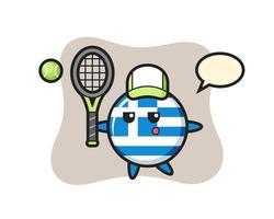 personaje de dibujos animados de la insignia de la bandera de grecia como ten vector