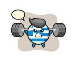 Dibujos animados de la mascota de la insignia de la bandera de Grecia con una barra vector