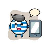 dibujos animados de ilustración de insignia de bandera de grecia sosteniendo un smartphone vector