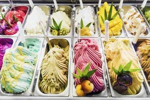 Classic Italian gourmet gelato gelato ice cream display in shop photo