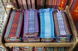 Traditional woven Tais fabric scarves in Dili souvenir market east Timor Leste photo