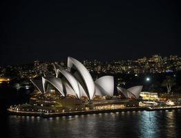 View of Sydney opera house landmark exterior at night in Australia photo