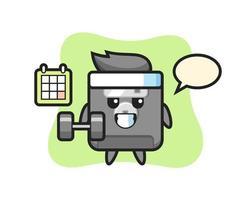 Dibujos animados de la mascota del disquete haciendo fitness con mancuernas vector