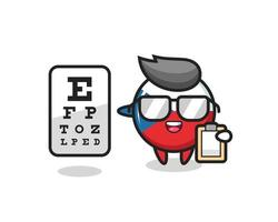 Illustration of czech flag badge mascot as an ophthalmology vector