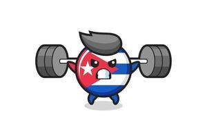 bandera de cuba, insignia, mascota, caricatura, con, un, barra vector