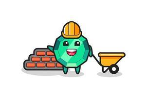 personaje de dibujos animados de piedra preciosa esmeralda como constructor vector