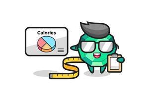 Ilustración de la mascota de la piedra preciosa esmeralda como dietista vector
