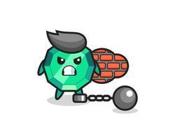mascota de personaje de piedra preciosa esmeralda como prisionero vector