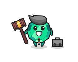 Ilustración de la mascota de la piedra preciosa esmeralda como abogado vector