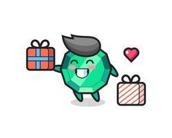 dibujos animados de la mascota de la piedra preciosa esmeralda dando el regalo vector