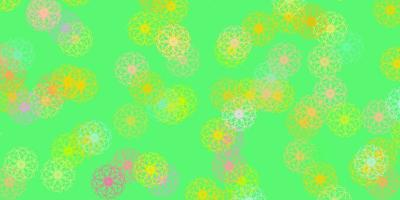 Light Green, Red vector doodle texture with flowers.
