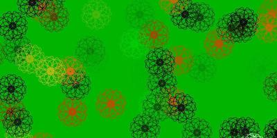 Light Green, Red vector natural backdrop with flowers.