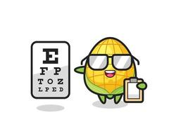 Illustration of corn mascot as an ophthalmology vector