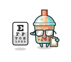 Illustration of bubble tea mascot as an ophthalmology vector