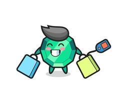 dibujos animados de la mascota de la piedra preciosa esmeralda sosteniendo una bolsa de compras vector