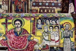 Ancient Ethiopian orthodox church interior painted walls in Gondar Ethiopia photo